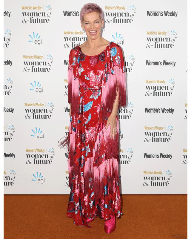 Jessica Rowe is the life of the party in this fabulous red, floral, fringe number.