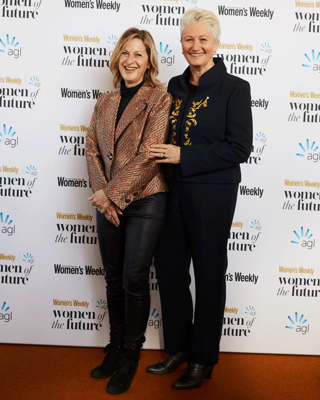 Dr Kerryn Phelps and Jackie Stricker-Phelps on the red carpet.