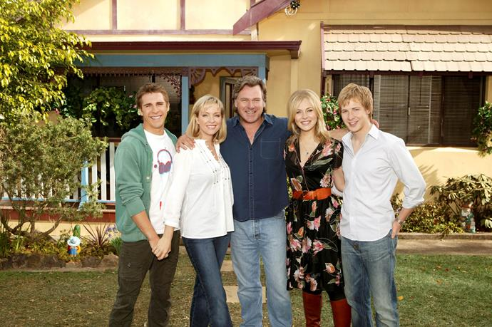 The original Packed to the Rafters crew: Hugh Sheridan, Rebecca Gibney, Erik Thomson, Jessica Marais and Angus McLaren.