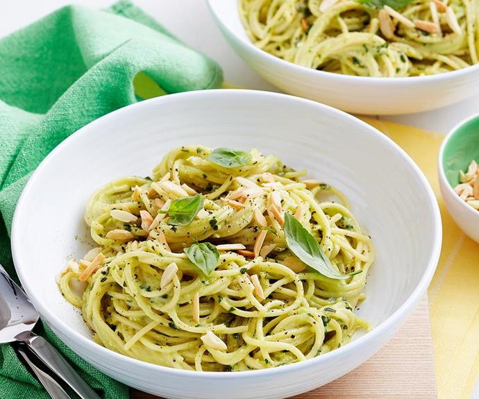 """Dinner is served! This avocado pesto pasta is lighter than a traditional carbonara. *(Image: [Women's Weekly Food](https://www.womensweeklyfood.com.au/recipes/avocado-pesto-pasta-29335