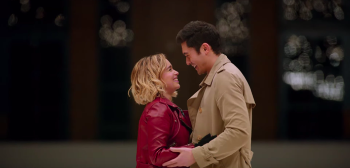Emilia Clarke and Henry Golding in *Last Christmas*.