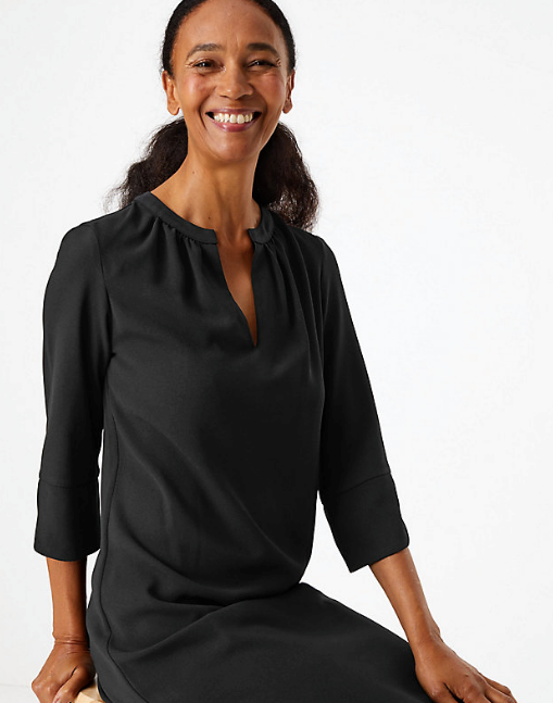 """This gorgeous dress is part of Meghan's collection being launched today. View it online [here](https://www.marksandspencer.com/au/crepe-shift-dress/p/P60277644.html