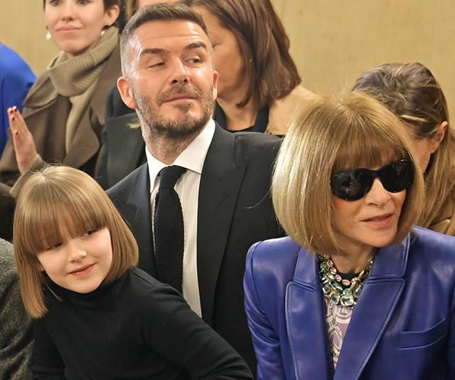 Harper sitting front row with her father David and Anna Wintour.
