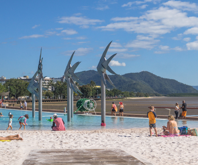 **Cairns Lagoon:** As beautiful as the ocean is around Cairns, at certain times of year it's probably not the safest for swimming. Fear not, there's a happy alternative situated at Cairns Esplanade, not too far from Muddy's Playground. The Lagoon is a 4800sqm salt water swimming facility that offers an all-year round, safe, swimming location without the stingers and crocodiles! Completely free to access, The Lagoon is filled with salt water from the Trinity Inlet which is filtered through a state-of-the-art filtration system. Lifeguards are on duty while the Lagoon is open, and wheelchair access to the Lagoon is also available. The Lagoon is open for business Thursday to Tuesday 6.00am to 9.00pm, Wednesday 12.00pm to 9.00pm (closed for weekly maintenance until midday) and public holidays 6.00am to 9.00pm.
