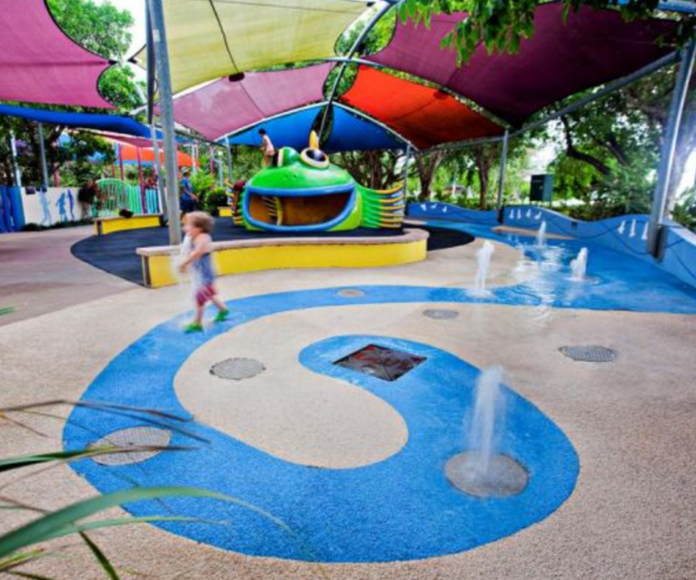 **Muddy's Playground:** Modern, fun, safe, accessible splash playground and parkland, Muddy's Playground is a popular destination for locals and tourists alike. It includes water play areas plus a flying fox, sound chimes, track ride, rope bridge, slides, mouse wheels, play houses, story telling areas, see-saw, trick track and puzzle games. There's bathroom facilities and picnic areas, so you really can settle in for the day. Muddy's Playground is open every day of the year from 9.00am to 7.00pm (including public holidays and weekends). Sections of Muddy's are closed for maintenance on Tuesday and/or Thursday mornings until noon. Even when maintenance works are being carried out, Council aims to have at least half the playground available for use.