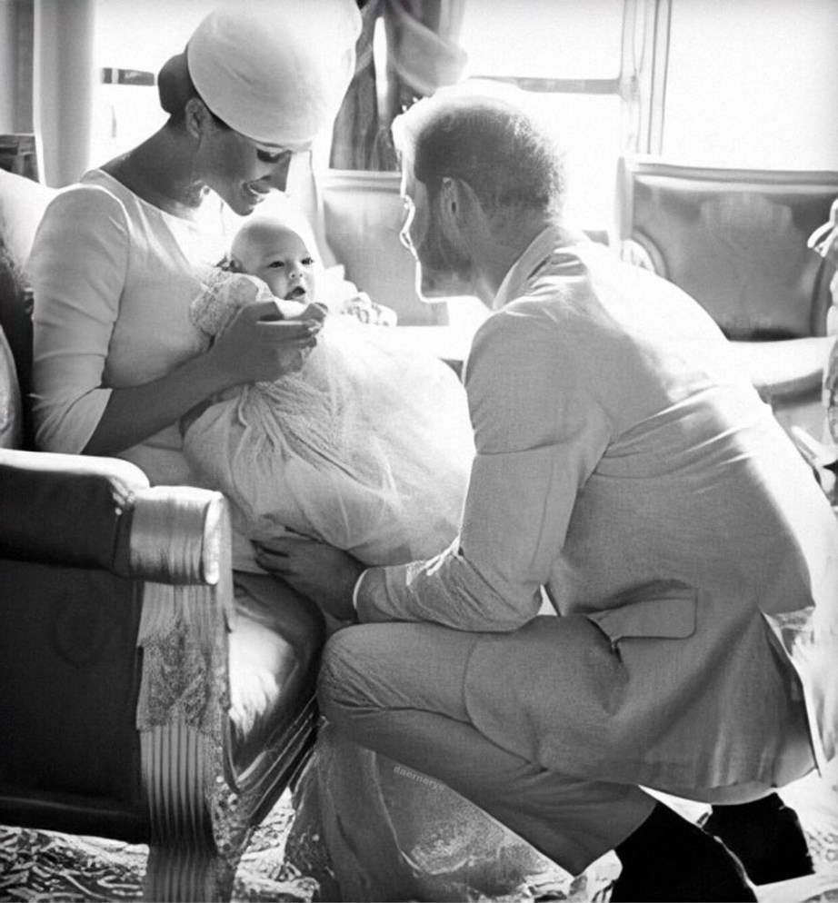 The adorable previously unreleased photograph gives us another glimpse into Archie's christening and of course, another glimpse of cute Archie! *(Image: Chris Allerton /@sussexroyal)*