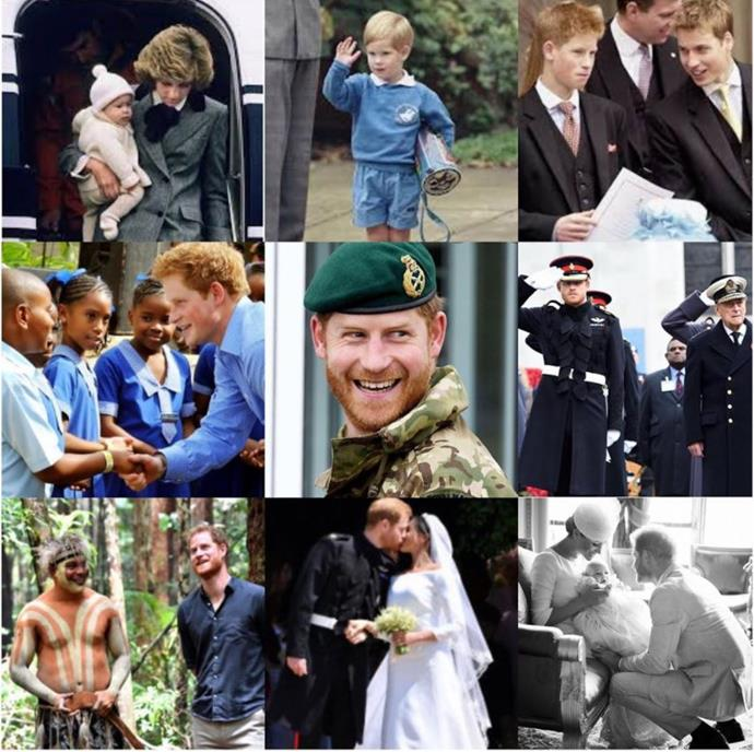 The heart-felt photo collage for Prince Harry's birthday.