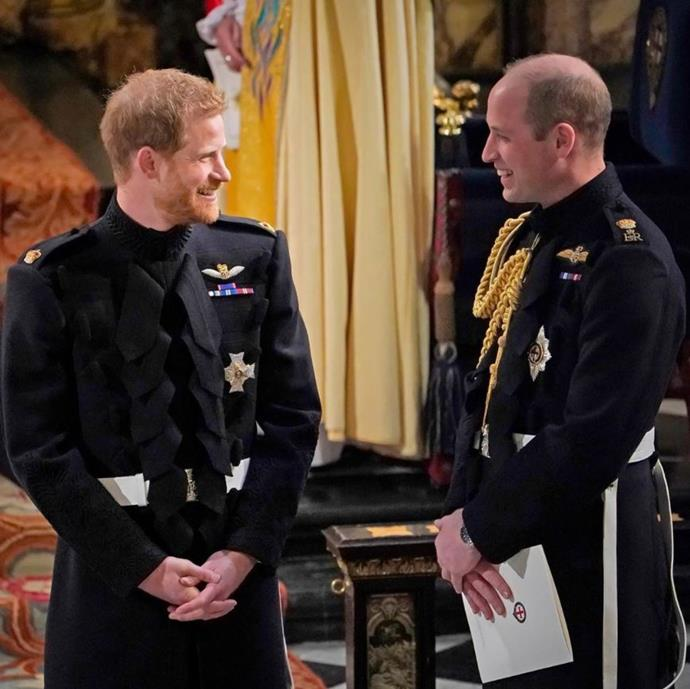 Prince Harry and Prince William at Harry's wedding.