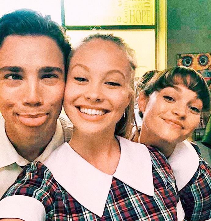 Olivia with her co-stars Lukas Radovich and Courtney Miller in the Summer Bay High school uniform.