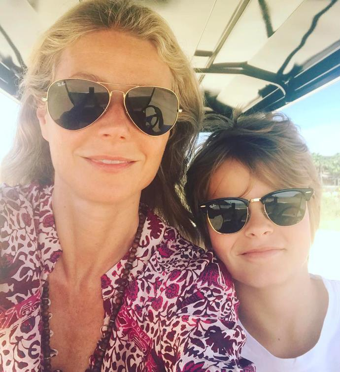 Gwyneth and her son Moses.