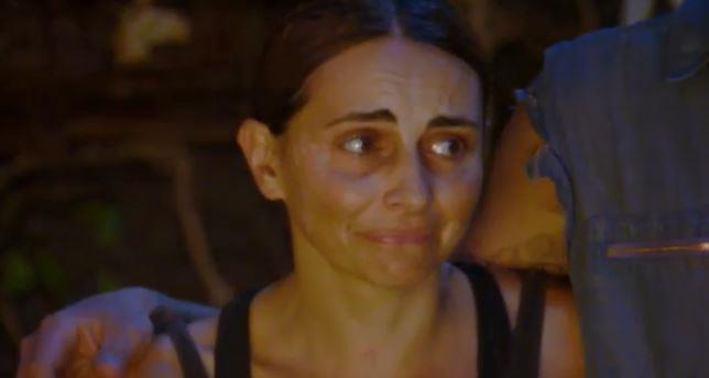 Pia was in tears as Luke's name was read out during tribal council.