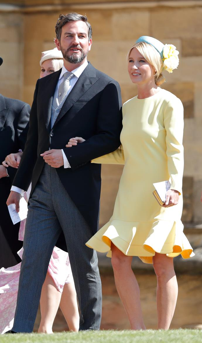 Isabel May arriving at Prince Harry and Duchess Meghan's royal wedding with Markus Anderson.