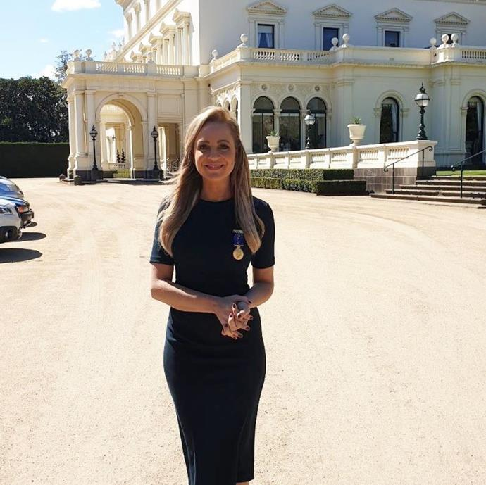 Carrie Bickmore received the Order of Australia Medal for her service to the broadcast media and to brain cancer awareness.