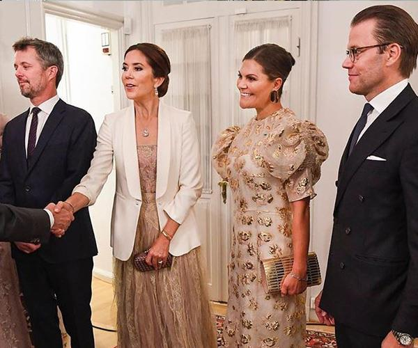 Crown Princess Mary and Crown Princess Victoria bore striking similarities at their evening reception.