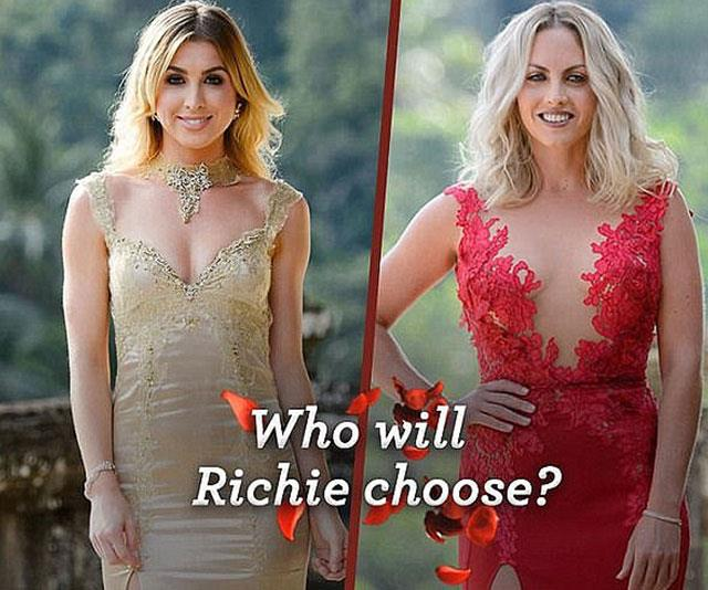 Alex Nation's (left) gold dress was a hint Richie Strahan would pick her over Nikki Gogan (right).