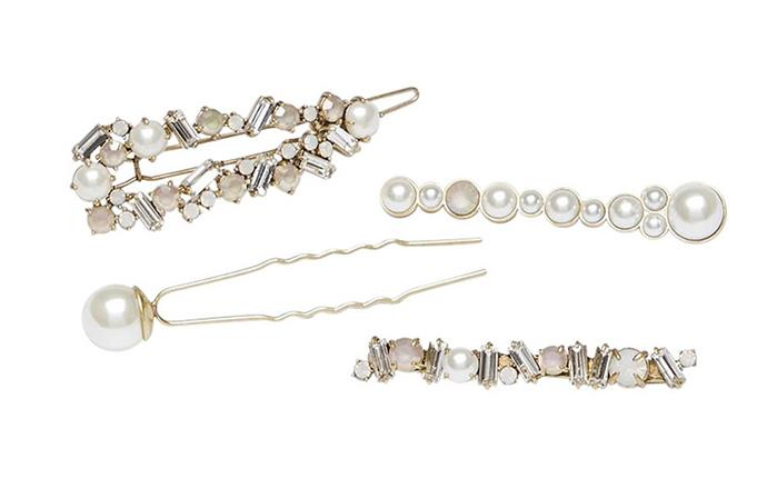 "[Mimco Calla hair pins, $79.95](https://www.mimco.com.au/Product/60246276-277/?colour=Soft-Gold&size=No-Size&scd=true&gclid=CjwKCAjwq4fsBRBnEiwANTahcN3R_JXCq0jJfcuLT-tXkyTWc4AlrVd-Qv_hK9tjZatYVI-ZdYHzXxoCarQQAvD_BwE&gclsrc=aw.ds|target=""_blank""