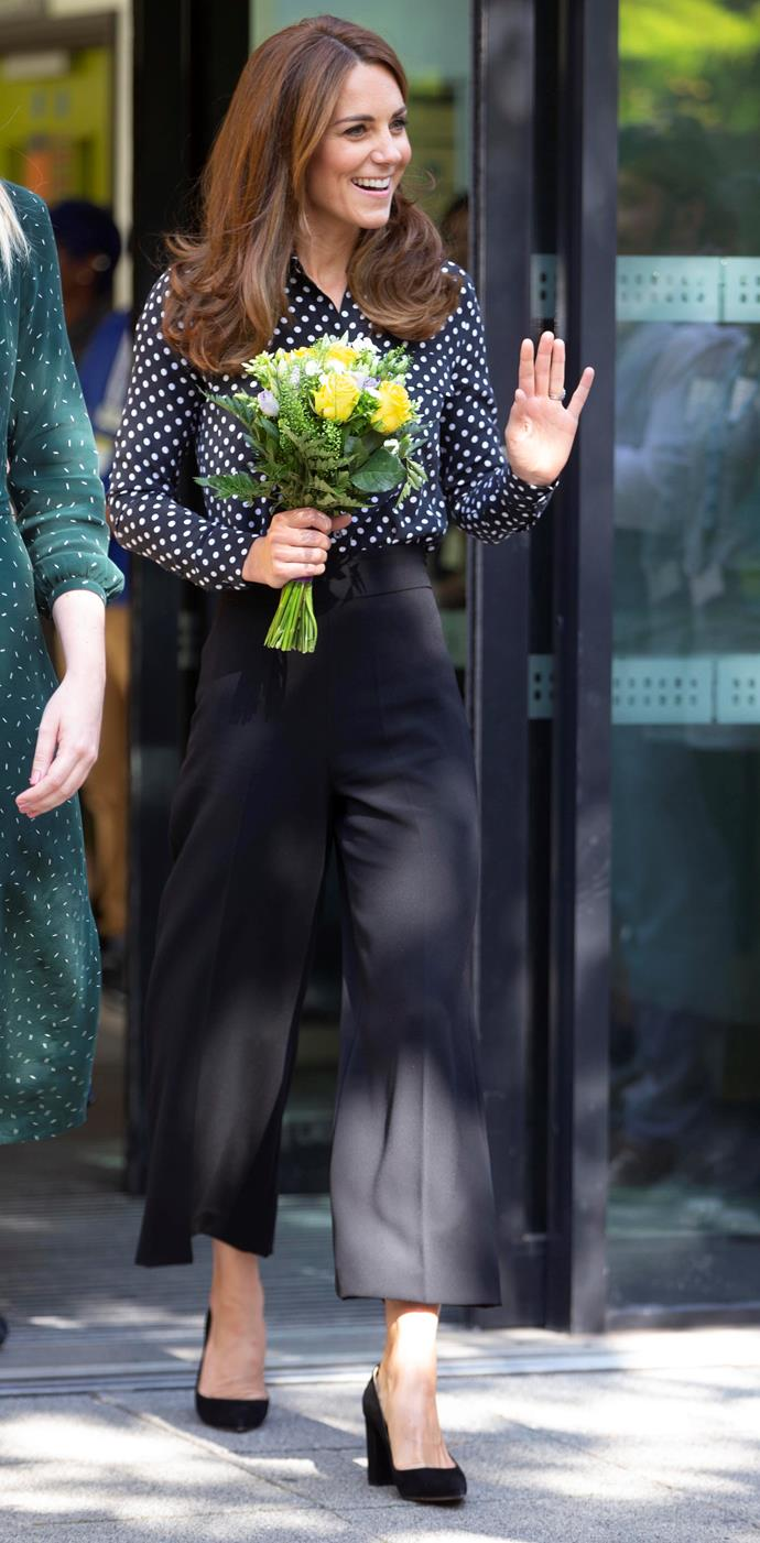 The Duchess nailed corporate-chic in this effortless look.