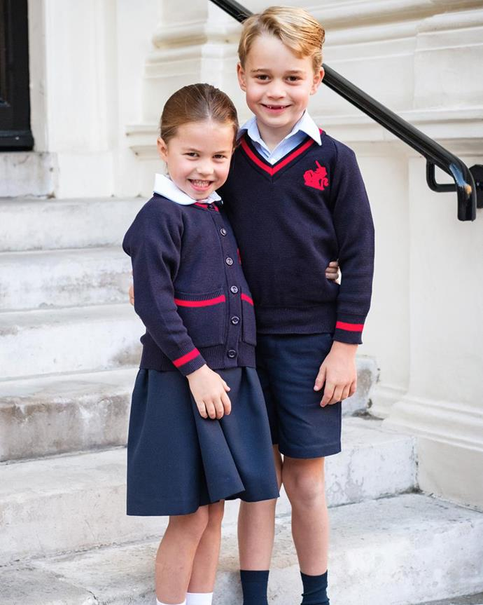 Princess Charlotte and Prince George on Charlotte's first day of school.