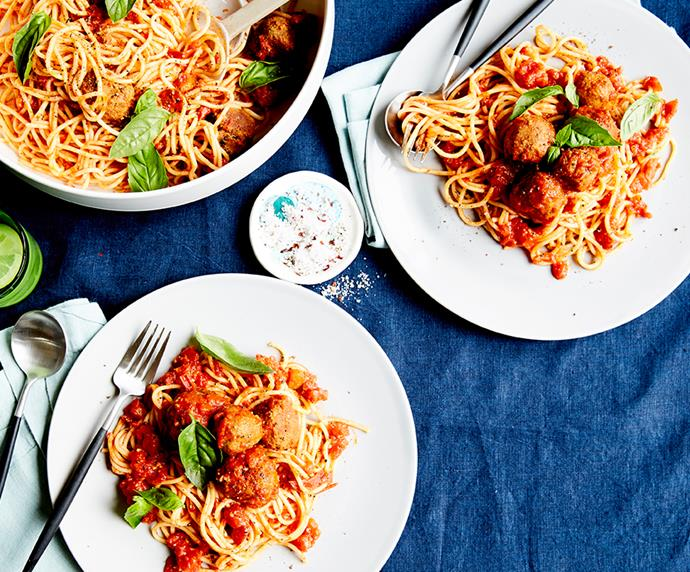 """[Lentil almond meatballs with spaghetti and Napoli sauce](https://recipes.vegkit.com/lentil-almond-meatballs-with-spaghetti-napoli-sauce target=""""_blank"""" rel=""""nofollow"""") <br><br> Fill up with this comforting bowl of Italian goodness. Low in fat and calories, this healthy, nutrient-loaded and meat-free alternative to meatballs doesn't skimp on *any* flavour."""