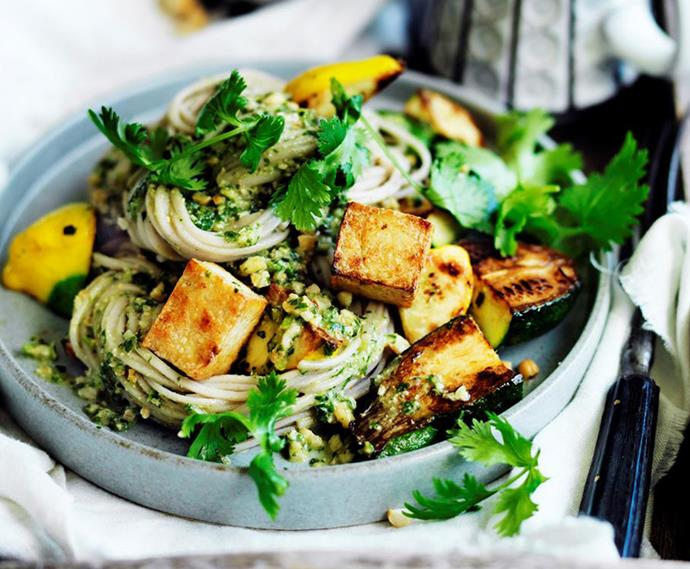 "[Zucchini and tofu noodles with coriander pesto](https://www.womensweeklyfood.com.au/recipes/zucchini-and-tofu-noodles-with-coriander-pesto-29486|target=""_blank"") <br><br> When wholesome zucchini and tofu noodles meets coriander pesto, it's a magical culinary moment. A tasty way to eat your greens."