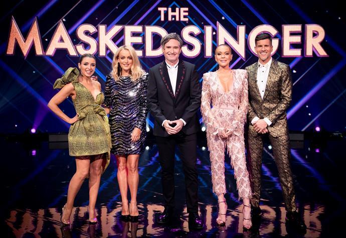 *The Masked Singer* panellists Dannii Minogue, Jackie O, Dave Hughes, Lindsay Lohan and host Osher Günsberg.