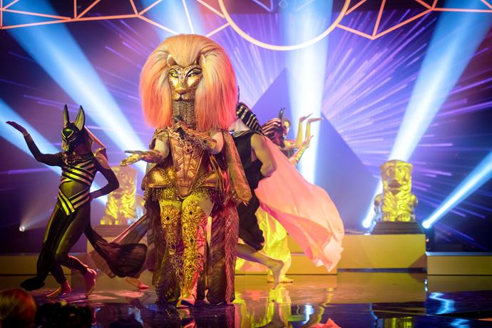 The mighty Lion in action on *The Masked Singer* stage!