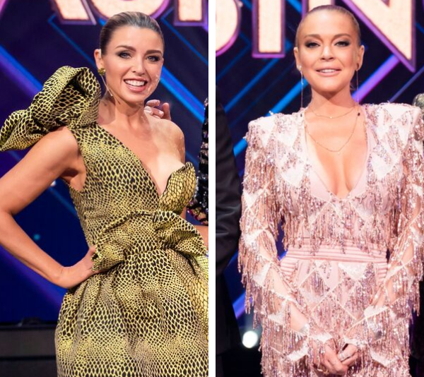Dannii Minogue and Lindsay Lohan on the set of *The Masked Singer Australia*.