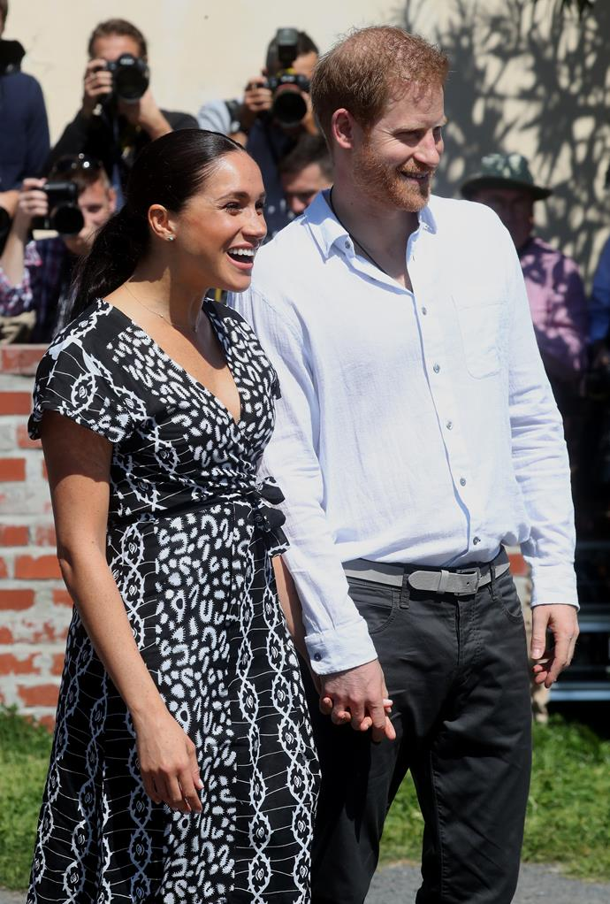 For their first engagement in South Africa, Duchess Meghan wore a printed black and white Mayamiko Dalitso wrap dress, a fair trade fashion label from Malawi that retails for £69 (AU$126).