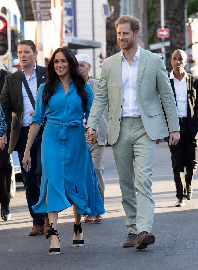 For their second engagement of the day at the District 6 Museum, both the Duke and Duchess changed into a new outfit.