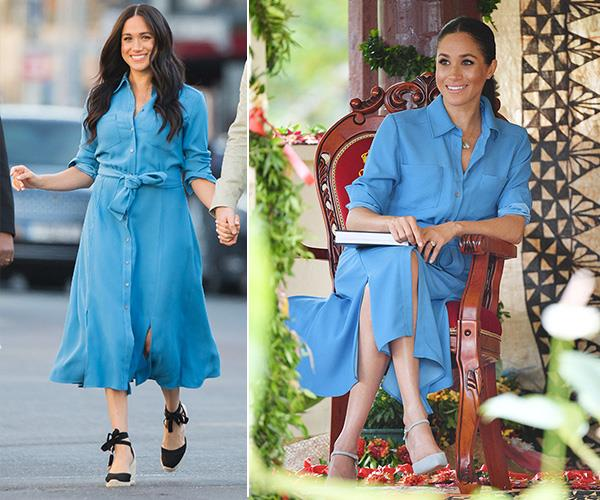 You may have recognised Meghan's blue Veronica Beard wrap dress from her visit to Tonga's Tupou College in October last year.