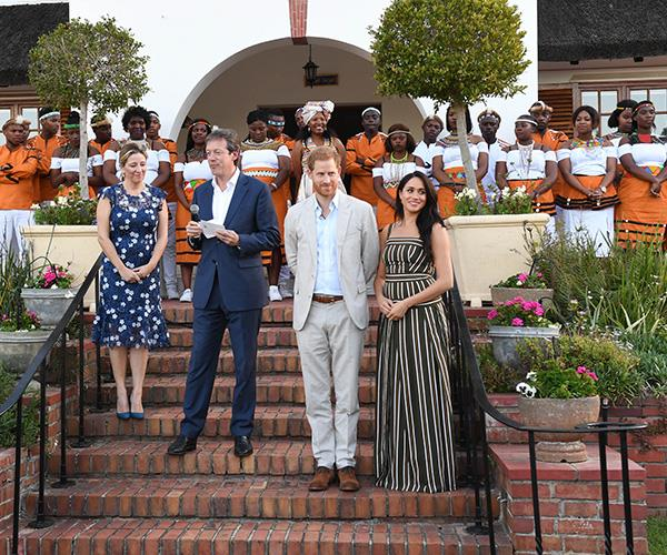 Harry and Meghan's day finished with a reception for young people, community and civil society leaders at the Residence of the British High Commissioner.