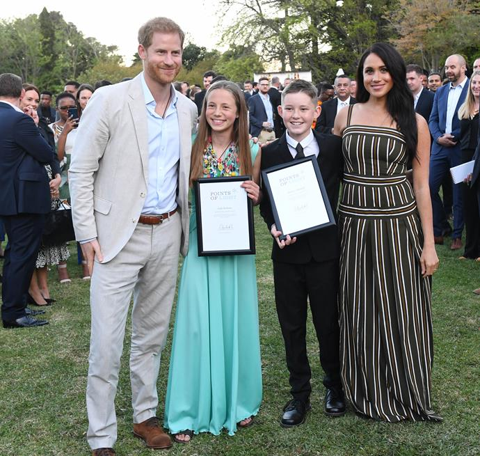 The Duke and Duchess presented Jade Bothma and Hunter Mitchell with a Point of Light prize.