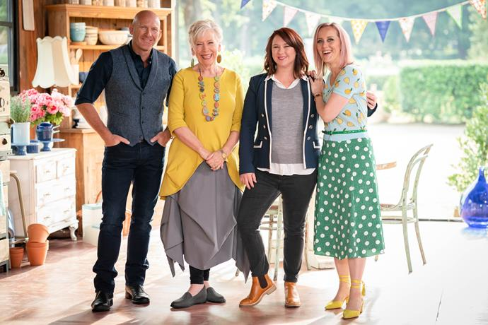 Judges Matt Moran and Maggie Beer, with hosts Mel Buttle and Claire Hooper.