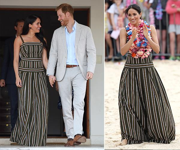 And we have another royal tour recyclable! The Duchess of Sussex wore the same dress when she and Prince Harry visited Bondi Beach in October 2018 during their Australian royal tour.