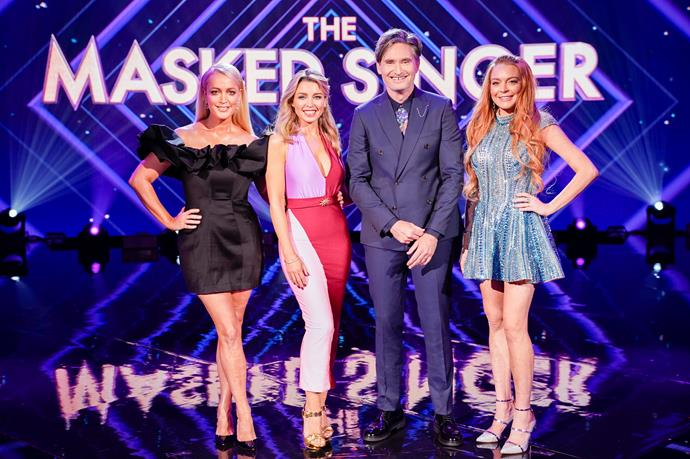 Jackie O, Dannii, Dave Hughes and Lindsay Lohan on The Masked Singer.