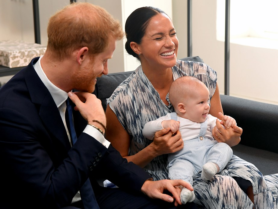 Archie looked happy and at ease the entire time, while his proud parents looked happy to show him off. *(Image: Getty)*