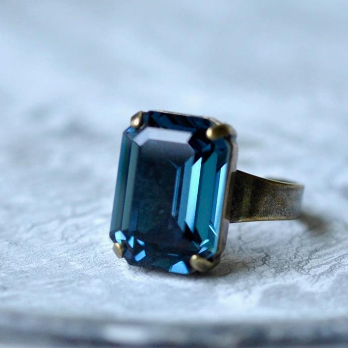 "At just $40.85, this navy blue emerald cut ring will add some colour to your look. [Buy it here.](https://www.etsy.com/au/listing/726941795/navy-blue-emerald-cut-ring-swarovski?ga_order=most_relevant&ga_search_type=all&ga_view_type=gallery&ga_search_query=blue+cocktail+ring&ref=sc_gallery-1-7&plkey=7a4efac7c31f79b17569642efea29b000447747b%3A726941795|target=""_blank""