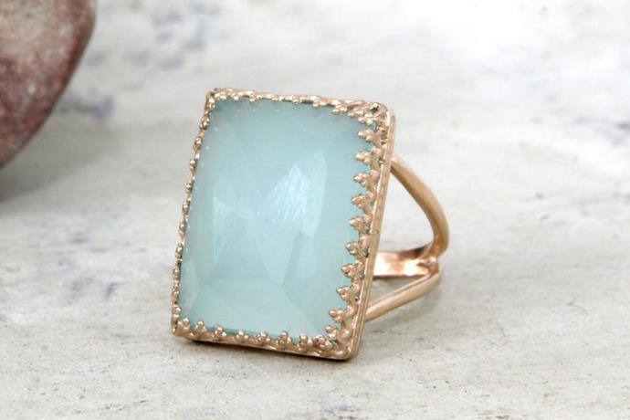 "For a lighter look we love this $79.80 aqua ring. [Get it here.](https://www.etsy.com/au/listing/167465618/aqua-chalcedony-ringrectangular-ringblue?ga_order=most_relevant&ga_search_type=all&ga_view_type=gallery&ga_search_query=blue+cocktail+ring&ref=sr_gallery-1-22&pro=1&frs=1|target=""_blank""