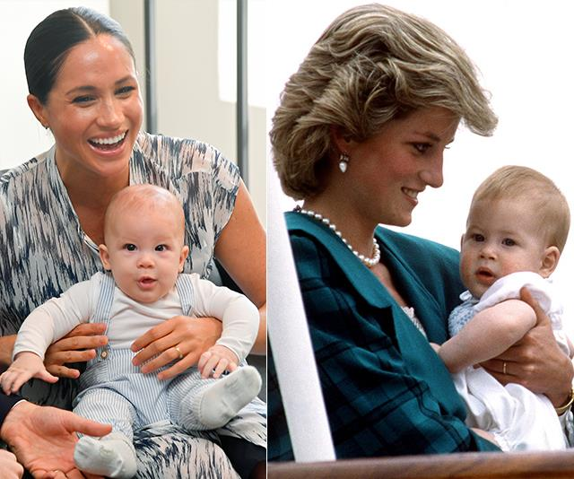 It was as if history was repeating itself: Archie looked just like his dad did when he was a baby, pictured here with Princess Diana.
