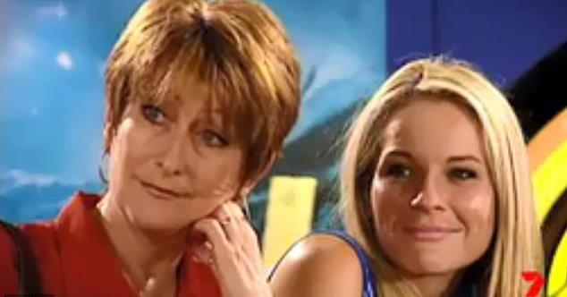 Lynne McGranger and Belinda Emmett on the set of *Home and Away*.