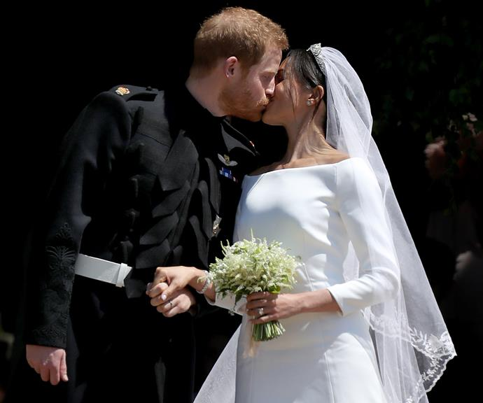 Who could forget this iconic moment? Harry and Meghan shared a sweet kiss after their glorious royal wedding in May 2018.
