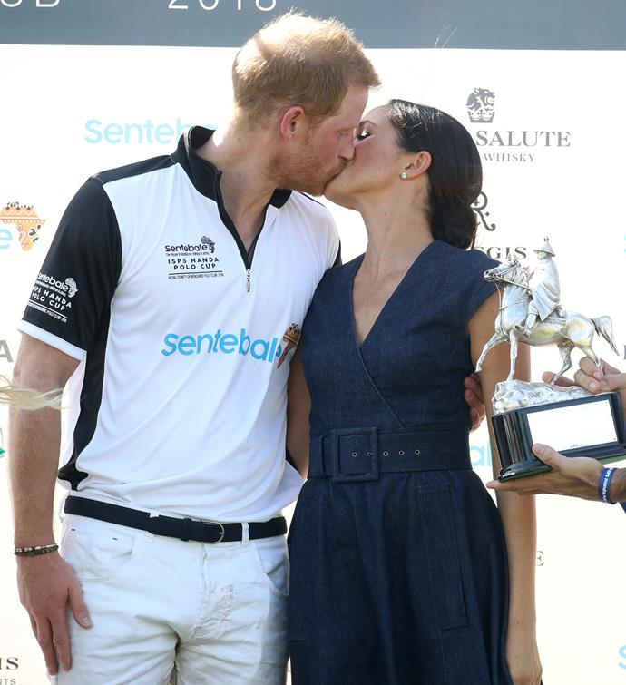 Just two months after they got married, these adorable newlyweds shared a smooch in front of the cameras after Prince Harry took part in the Sentebale Polo in Windsor in July 2018.