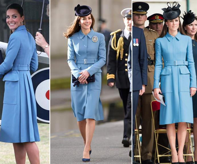 Kate wearing the McQueen coat in 2014 (left and centre) and in 2016 (right).