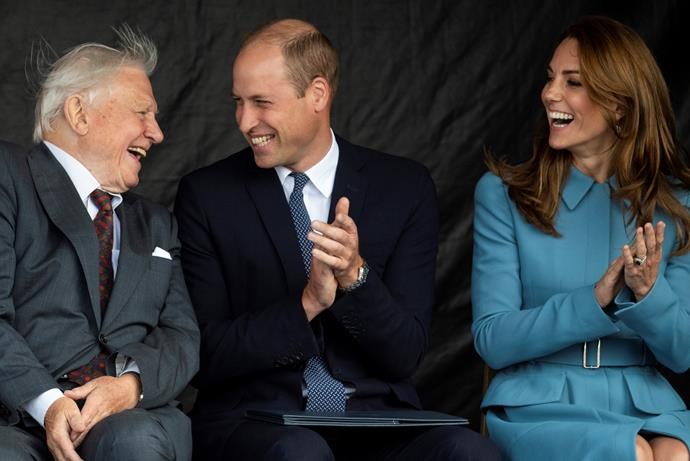 Sir David Attenborough, Prince William and Duchess Catherine sharing a sweet moment together.