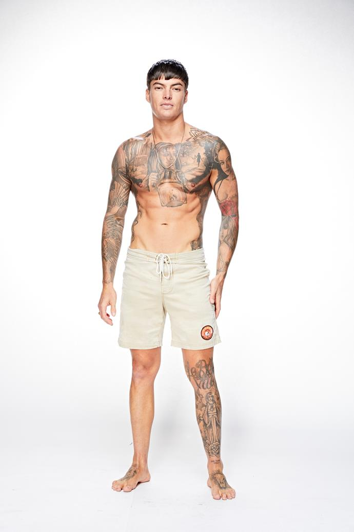 "**Adam, 27, plasterer/model, QLD** <br><br> Self-described ""mummy's boy"" Adam's world changed when his father passed away from a heart attack four years ago. He now lives at home with his mum and sister."