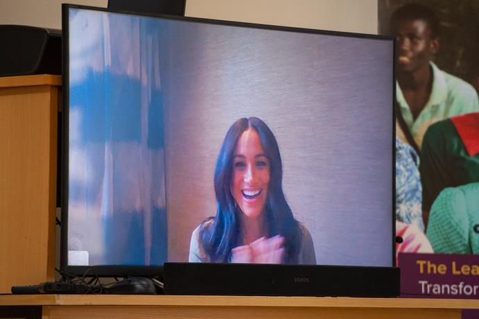 The Duchess of Skype! Meghan dialled in via video call to the Nalikule College of Education.