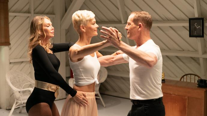 Jess practises an iconic scene with choreographers Todd McKenney and Kym Johnson.