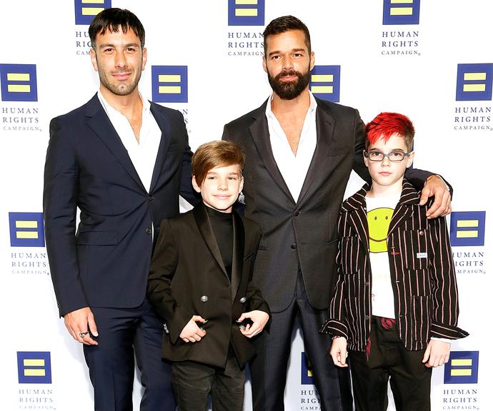 Ricky and Jwan with their twin sons at the Human Rights event.