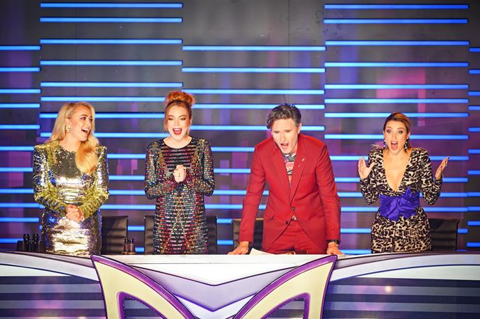 Jackie O, Lindsay, Dave Hughes and Dannii Minogue on *The Masked Singer.*