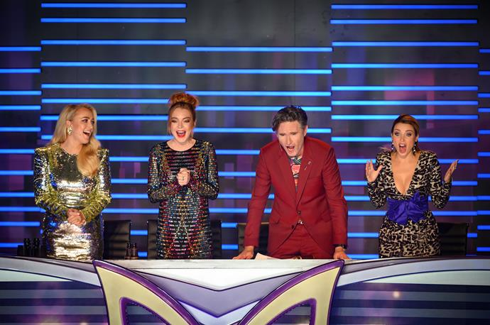 Jackie O, Lindsay Lohan, Hughesy and Dannii Minogue on *The Masked Singer.*